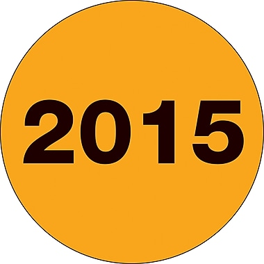 Tape Logic™ 2in. Circle in.2015in. Year Label, Fluorescent Orange, 500/Roll