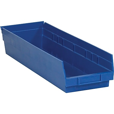 BOX 23 5/8in. x 6 5/8in. x 4in. Plastic Shelf Bin Box, Blue