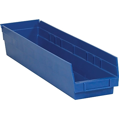 BOX 23 5/8in. x 4 1/8in. x 4in. Plastic Shelf Bin Box, Blue