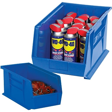 BOX 16in. x 11in. x 8in. Plastic Stack and Hang Bin Box, Blue