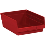 "BOX 11 5/8"" x 11 1/8"" x 4"" Plastic Shelf Bin Box, Red"