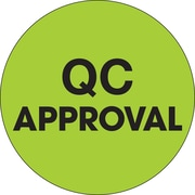 "Tape Logic™ 1"" Circle ""QC Approval"" Label, Fluorescent Green, 500/Roll"