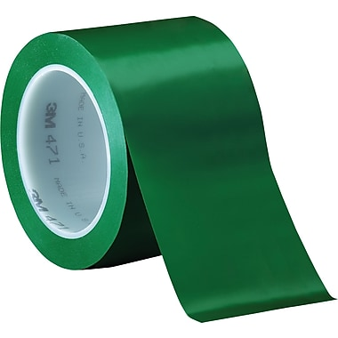 3M™ 3in. x 36 yds. Solid Vinyl Safety Tape 471, Green, 12/Case