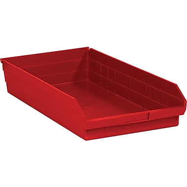 BOX 23 5/8in. x 11 1/8in. x 4in. Plastic Shelf Bin Box, Red