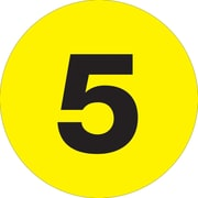 "Tape Logic™ 2"" Circle ""5"" Number Label, Fluorescent Yellow, 500/Roll"