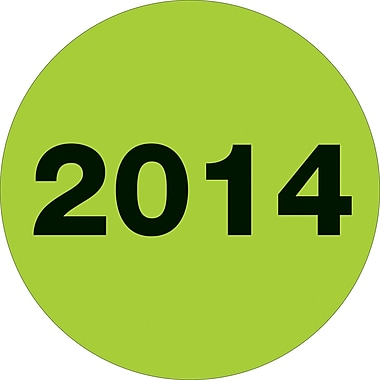 Tape Logic™ 2in. Circle in.2014in. Year Label, Fluorescent Green, 500/Roll
