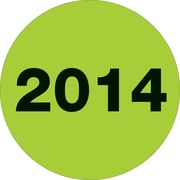 "Tape Logic™ 2"" Circle ""2014"" Year Label, Fluorescent Green, 500/Roll"