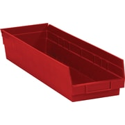 "BOX 23 5/8"" x 6 5/8"" x 4"" Plastic Shelf Bin Box, Red"