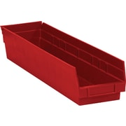 "BOX 23 5/8"" x 4 1/8"" x 4"" Plastic Shelf Bin Box, Red"