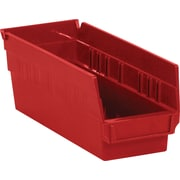 "BOX 11 5/8"" x 4 1/8"" x 4"" Plastic Shelf Bin Box, Red"