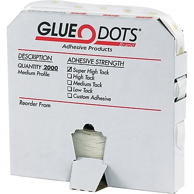 Glue Dots® 1/4in. Super High Tack Glue Dots, Medium Profile, 2000/Case
