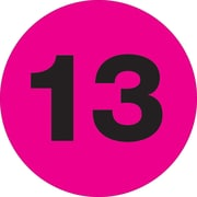 "Tape Logic™ 1"" Circle ""13"" Number Label, Fluorescent Pink, 500/Roll"
