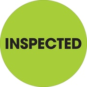 """Tape Logic™ 2"""" Circle """"Inspected"""" Label, Fluorescent Green, 500/Roll"""