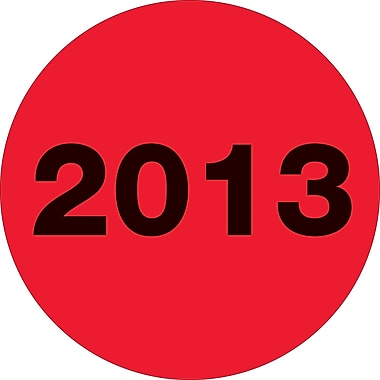 Tape Logic™ 2in. Circle in.2013in. Year Label, Fluorescent Red, 500/Roll