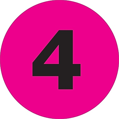 Tape Logic™ 1in. Circle in.4in. Number Label, Fluorescent Pink, 500/Roll