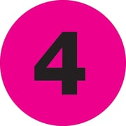 "Tape Logic™ 1"" Circle ""4"" Number Label, Fluorescent Pink, 500/Roll"
