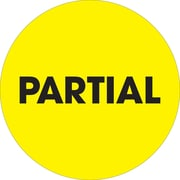 "Tape Logic™ 2"" Circle ""Partial"" Inventory Label, Fluorescent Yellow, 500/Roll"