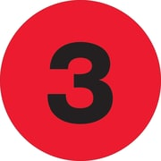 Tape Logic™ 1 Circle 3 Number Label, Fluorescent Red, 500/Roll