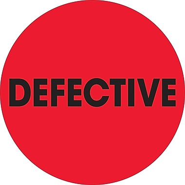 Tape Logic™ 2in. Circle in.Defectivein. Inventory Label, Fluorescent Red, 500/Roll