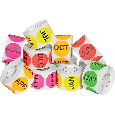 Tape Logic™ 2in. Circle Easy Order Packs Months of The Year Pre Printed Inventory Label, 500/Roll