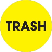 "Tape Logic™ 2"" Circle ""Trash"" Inventory Label, Fluorescent Yellow, 500/Roll"