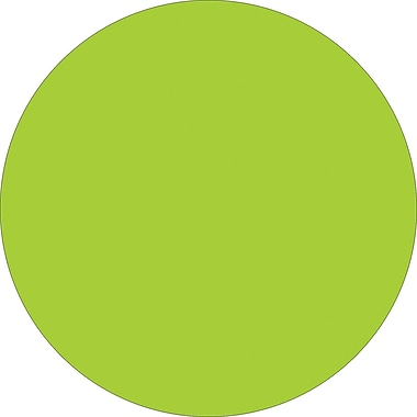 Tape Logic™ 4in. Circle Inventory Label, Fluorescent Green, 500/Roll