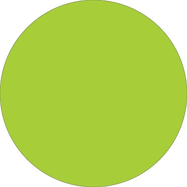 Tape Logic™ 2in. Circle Inventory Label, Fluorescent Green, 500/Roll