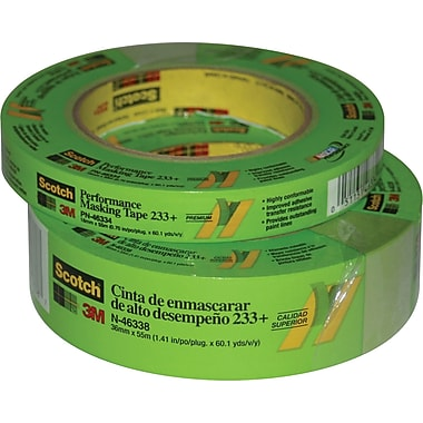 3M™ Scotch® 1in. x 60 yds. Masking Tape 233+, Green, 12/Case