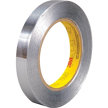 3M™ 1/2in. x 60 yds. Aluminum Foil Tape 425, Silver, 72/Case