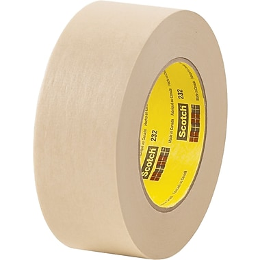 3M™ Scotch® 1in. x 60 yds. x 6.3 mil Masking Tape 232, Tan, 12/Case