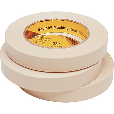 3M™ Scotch® 1in. x 60 yds. x 7.6 mil Masking Tape 231, Tan, 12 Rolls