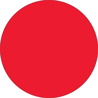 Tape Logic™ 4in. Circle Inventory Label, Fluorescent Red, 500/Roll