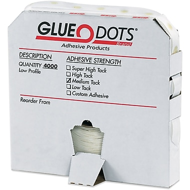 Glue Dots Low Profile, Medium Tack, Putty & Dots, 4000/Case