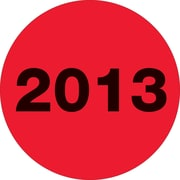 "Tape Logic™ 3"" Circle ""2013"" Label, Fluorescent Red, 500/Roll"