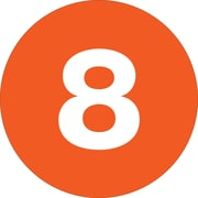 "Tape Logic™ 2"" Circle ""8"" Number Label, Orange, 500/Roll"