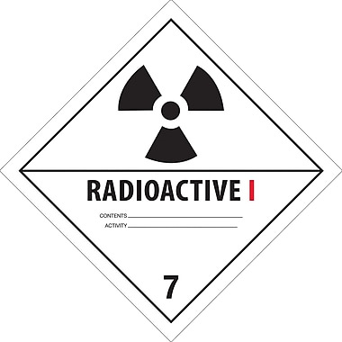 Tape Logic™ in.Radioactive Iin. D.O.T. Hazard Label, 4in. x 4in.
