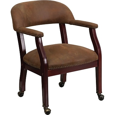 Flash Furniture Bomber Mid Back Luxurious Conference Chair With Casters, Jacket Brown