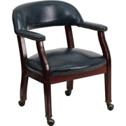 Flash Furniture Open-Back Vinyl Conference Chair, Fixed Arms, Blue
