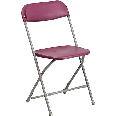 Flash Furniture HERCULES™ Plastic Armless Folding Chair, Premium Burgundy, 24/Pack