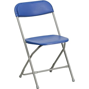 Flash Furniture HERCULES Series 440 lb. Capacity Premium Plastic Folding Chair, Blue, 32/Pack