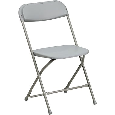 Flash Furniture HERCULES™ Plastic Armless Folding Chair, Premium Gray, 10/Pack
