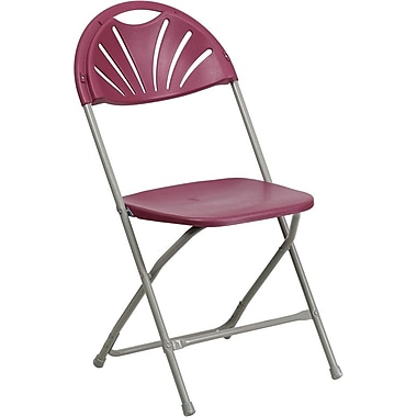 Flash Furniture HERCULES Series 440 lb. Capacity Plastic Fan Back Folding Chair, Burgundy, 128/Pack