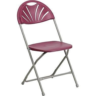 Flash Furniture HERCULES Series 440 lb. Capacity Plastic Fan Back Folding Chair, Burgundy, 128/Pack