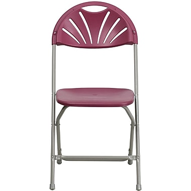 Flash Furniture HERCULES Series 440 lb. Capacity Plastic Fan Back Folding Chair, Burgundy, 32/Pack