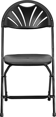 Flash Furniture HERCULES Series 440 lb. Capacity Plastic Fan Back Folding Chair, Black, 32/Pack 200777