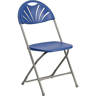 Flash Furniture HERCULES Series 440 lb. Capacity Plastic Fan Back Folding Chair, Blue, 128/Pack