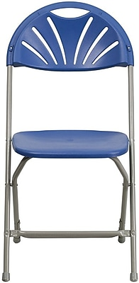 Flash Furniture HERCULES Series 440 lb. Capacity Plastic Fan Back Folding Chair, Blue, 32/Pack 200785