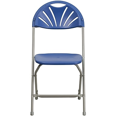 Flash Furniture HERCULES Series 440 lb. Capacity Plastic Fan Back Folding Chair, Blue, 8/Pack