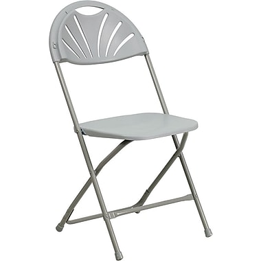 Flash Furniture HERCULES Series 440 lb. Capacity Plastic Fan Back Folding Chair, Gray, 128/Pack