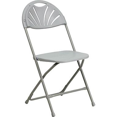 Flash Furniture HERCULES Series 440 lb. Capacity Plastic Fan Back Folding Chair, Gray, 128/Pack